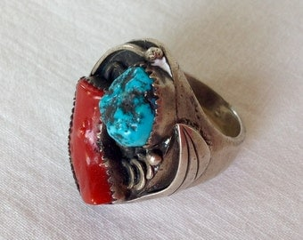 Heavy Navajo Coral Turquoise and Silver Ring
