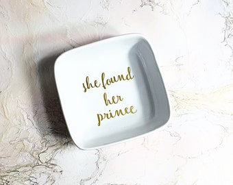 Engagement Ring Dish - Wedding Ring Dish - Engagement Gifts for Her -  Engagement Gift - Princess Wedding Gift - Ring Holder for Newly Wed