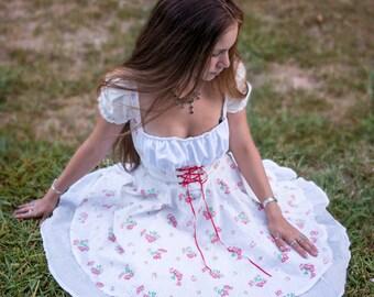 Corset swing pinup dress!red/womens/dance/square/fairy/Lolita/cosplay/fun/costume/spring/picnic/summer/cherry/blossom/wedding/beautiful/cute