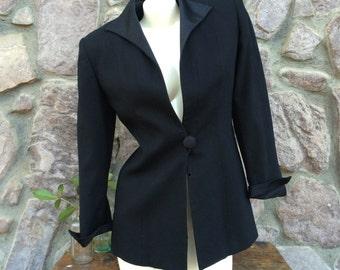Vintage 80s Christian Dior Sleek Minimalist Black Wool Blazer / Women's Tuxedo Style Jacket / Made in the USA / Size 4 / Size Small