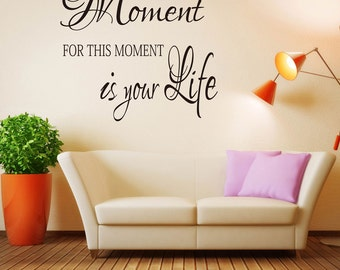 Enjoy This Moment Wall Decal - Wall Quotes -  Enjoy This Moment Wall Sticker - Vinyl Lettering Decals #652Q