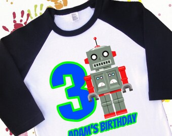 Robot Birthday Shirt. Robot Shirt. Retro Robot. Robot party. 1st 2nd 3rd 4th 5th 6th Birthday. Robot Jersey. Raglan Shirt. (2048)