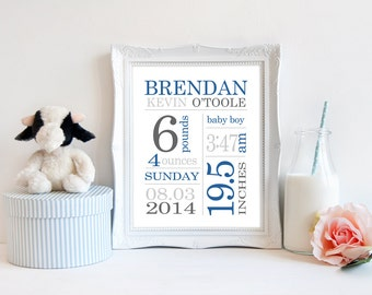 Boy birth details subway print baby birth date print personalized new baby gifts newborn print baby sign birth stats print baby keepsake