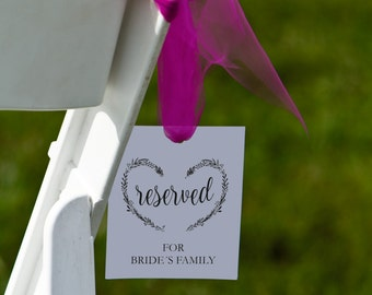 Wedding Reserved Sign Printable Template, Wedding Ceremony Reserved Sign Template, Seat Reserved Sign, Flat reserved signs, pdf instant