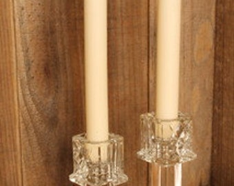 Two Tier Pressed Glass Candlestick Holder