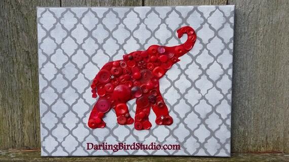 Red Elephant Republican Art Button Mosaic Home Decor