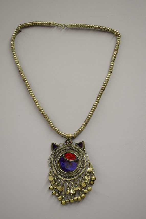 Necklace Pendant Middle Eastern Silver Kuchi Chain Red Blue Foil Paper Glass Handmade Jewelry Belly Dancing Kuchi Dangle Pendant
