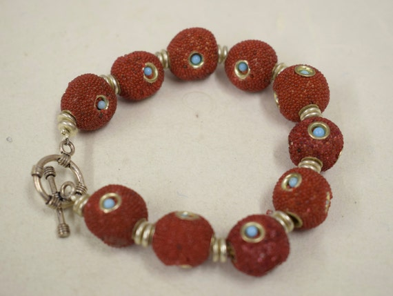 Bracelet Sponge Coral Dyed Red Round Turquoise Glass Beads Silver Handmade  Bracelet Jewelry Sponge Coral Red Beads Vintage Unique