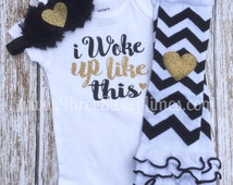 Baby Shower Gift I Woke Up Like This | Bodysuit Opt Leg Warmers Headband Set | Black And Gold Glitter | Shower Gift | Take Home Outfit