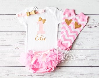 First Birthday Outfit, 1st Birthday Outfit, First Birthday Onesie with Legwarmers, Personalized Girls Gold Pink Outfit, 2nd Birthday