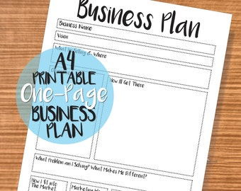 Printable One-Page Business Plan - A4 Business Planner - Printable Black & White Small Business Organiser - High Quality PDF Download