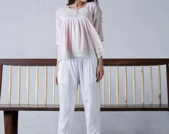 Pale pink cotton top
