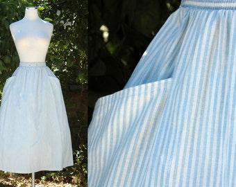 Pale Blue & White Striped Deadstock Midi Skirt