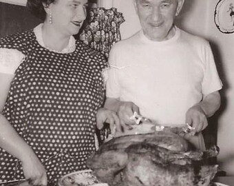 Turkey Time, Vintage Photograph, Black and White Photo, Thanksgiving Day Photo, Carving a Turkey, Family Feast, Family Gathering