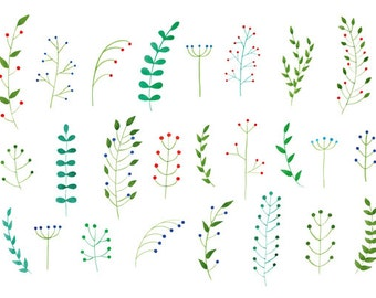 25 Watercolor Cliparts, Leaves and Berries Clipart, Handpainted Clipart