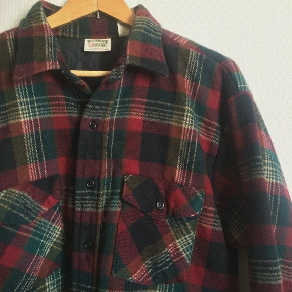 80s red plaid flannel shirt button down vintage green mens for Green plaid button down shirt