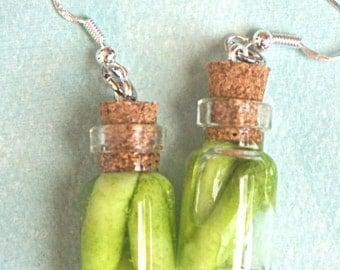 pickles jar earrings-miniature food jewelry