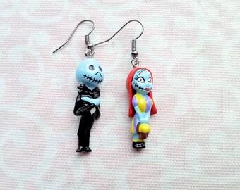 Nightmare Before Christmas Earrings, Sally and Jack Earrings, Halloween, Birthday, Christmas, Gift, Skeleton, Zombie