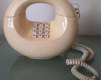 Vintage 1970's Cream Colored Western Electric Retro Sculptura Donut Touch Tone Telephone