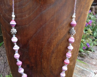 Paper Bead Necklace - Light Pink