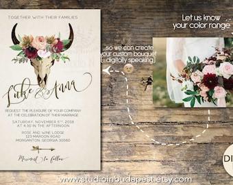 Boho Wedding Invitation, rustic wedding, invite calligraphy, boho floral wedding, RSVP card, DIY digital invitation set,