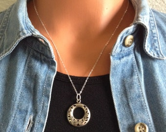 Mexican silver pendant on sterling silver chain
