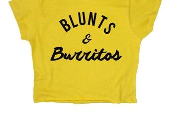 Blunts & Burritos // Food // Pizza // Weed // Marijuana // Grunge // Crop Top // Black White // Womens Ladies // S M L XL