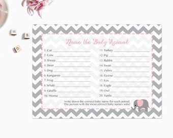 Pink Elephant Baby Animal Name Game, Baby Shower Game, Who's My Mommy Game, Gray Grey Chevron Instant Download  Printable227