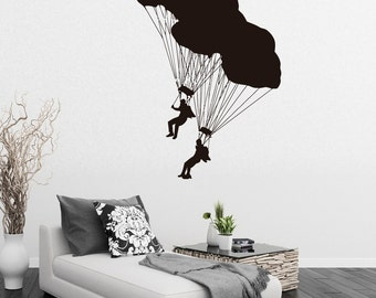 Vinyl Wall Decals Sky Divers Parachute Extreme Sports Decal Sticker Home Decor Art Mural Z633