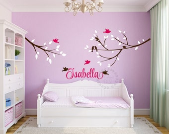 Tree birds wall decals Tree branch wall sticker Tree birds wall mural   Nursery tree birds wall decal with name Nursery name wall decals