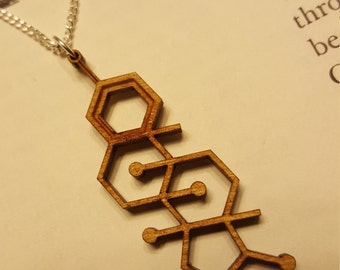 Laser Cut Testosterone Molecule Necklace