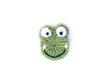Crochet Frog Applique | Crochet Animal Applique |Crochet Cartoon Frog | Frog Embellishment | Frog Motif