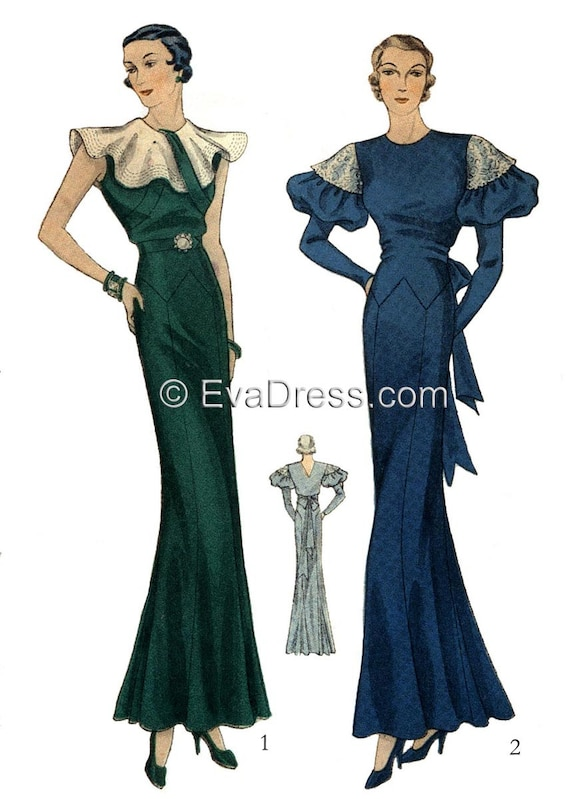 Vintage & Retro Shirts, Halter Tops, Blouses 1933 Evening Gown Pattern by EvaDress  AT vintagedancer.com