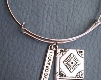 Book and Reading Themed Silver Bracelet Inspired by Charm Bracelet, Librarian, library, Reader,  I love BOOKS, Thoughtful Gift, Book lover