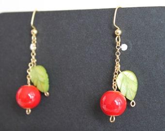 Cherry earrings, Apple earrings, Red Beads earrings, Red earrings, Red and green earrings, Christmas Earrings, Gifts for her