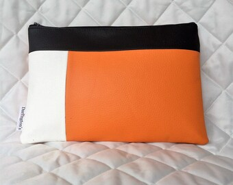 Bright Orange and White Faux Leather Colour Block Clutch