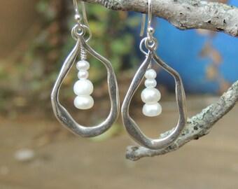 Freshwater pearl earrings - sterling silver hoop earrings - bridesmaid earrings - bride earrings - June Birthstone - pearl jewelry- organic