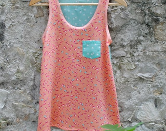 "Tank top ""Birdy pink"" - woman"