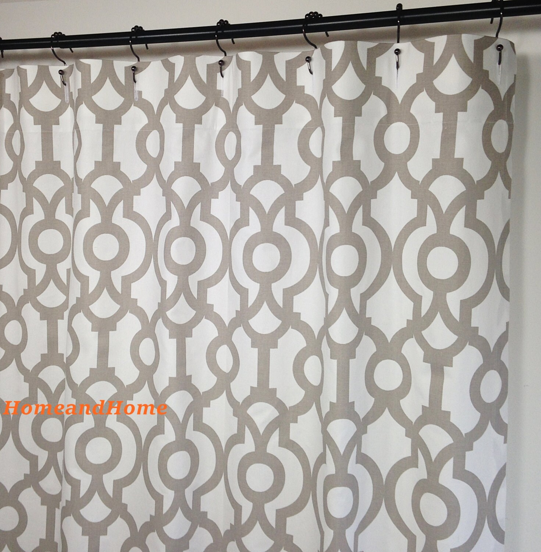 Shower Curtain Lyon Ecru Taupe White Long Shower Curtain 72