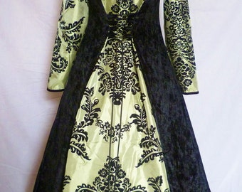 black and green medieval wedding dress goth Renaissance pagan hooded costume custom made to your size flock taffeta fantasy gown