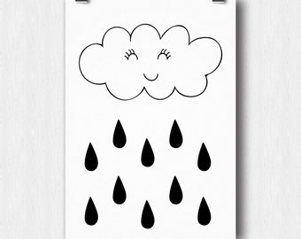 Printable poster - Cloud & Raindrops