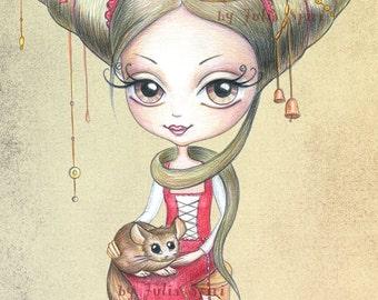 Digital stamps, Vintage Digi, Little girl, Big Eyes, Gothic, Coloring. The  Little World of Griselda Collection. Griselda with chinchilla