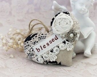 Hanging heart decor Blessed sign Fabric hearts Lace heart Rustic heart Linen and lace Heart Blessed heart Christmas ornaments Small gifts