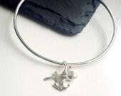 Faith Hope and Charity Charm Bangle Sterling Silver Layering Boho Bangle Cross Heart Anchor Bracelet Christian Jewellery Eloise B
