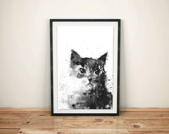 Cat Print, Cat Art, Black Cat, Black and White Print, Black and White Print Art, Black Home Decor, Animal Art, Splatter Ink, Wall Art Print