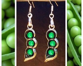 Pea Pod Earrings, 925 Sterling Wires, Pea Pods Gardener Gardening Vegetable Spring Jewelry
