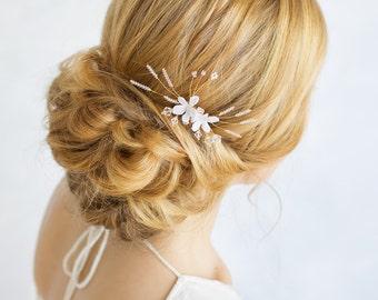 Floral Bridal Hair Comb - Delicate Crystal Headpiece, Silk Flower Wedding Hair Piece