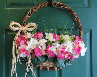 Geranium Wreath, Geranium Door Basket