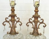 Hollywood Regency Mid Century Modern Pair of Lamps Clear Glass Teardrop Crystals Gold EF & EF Industries Ornate Kitsch Vintage Lamp Set