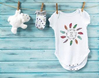 Baby shower gift, bohemian baby bodysuit Sizes: newborn - 18 months